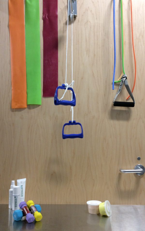 Therapy tools Theraband, Thera putty, Arm pulleys, TENS, Biofreeze, modalities, physio